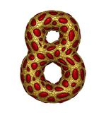 Number 8 eight made of golden shining metallic 3D with red glass isolated on white background. royalty free illustration