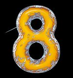 Number eight 8 made of golden shining metallic with yellow paint isolated on black 3d. Rendering vector illustration