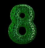 Number 8 eight made of green plastic with abstract holes isolated on black background. 3d. Rendering stock illustration