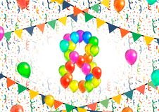 Number eight made up from colorful balloons on white background with confetti. Number eight made up from bright colorful balloons on white background with Stock Photos