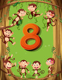 Number eight with 8 monkeys on the tree Royalty Free Stock Photography