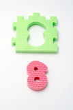 Number eight puzzle mats. Focus on the front (small DOF) Stock Images