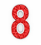 Number eight from red cubes Stock Images