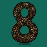 Number Eight with Retro Golden Floral Decor. Dark brown numeral. Yellow flowers and plants with drown effect. Blue small hearts. Vector Illustration Royalty Free Stock Images