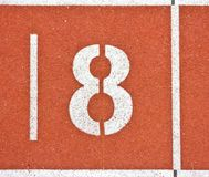 Number eight on running track lines Stock Photos