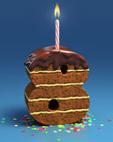 Number eight shaped birthday cake. With candle Stock Photo