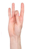Number eight in sign language. Studio shot, isolated on white Stock Images
