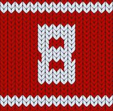 Number eight symbol, happy womens day background, red knitted vector pattern. Sweater design. Woolen fiber texture. Number eight symbol, happy womens day Royalty Free Stock Photography