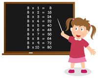 Number Eight Times Table on Blackboard stock images