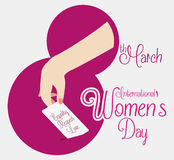 Number Eight with a Woman Hand Voting for Women's Day, Vector Illustration royalty free stock photo