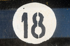 Number eighteen on the metall plate Royalty Free Stock Photography