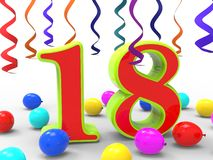 Number Eighteen Party Shows Teenager. Number Eighteen Party Showing Teenager Birthday Party Or Celebration Royalty Free Stock Image