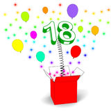 Number Eighteen Surprise Box Means Party Royalty Free Stock Images
