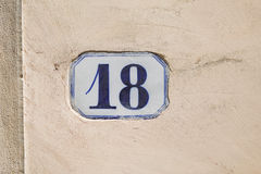 Number Eighteen Stock Photography