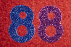 Number eighty-eight blue purple over a red background. Anniversa. Ry. Horizontal Stock Photo