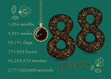 Time counting card. Number 88 and Pocket Watch Stock Photography