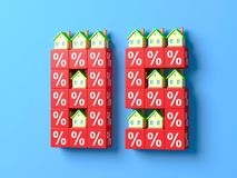 Number Eighty Five With Miniature Houses And Red Percentage Blocks. 3d Illustration vector illustration