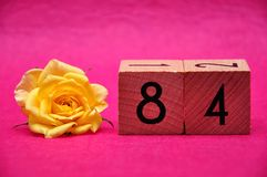Number eighty four with a yellow rose. On a pink background royalty free stock image