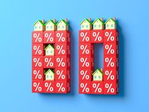 Number Eighty With Miniature Houses And Red Percentage Blocks. 3d Illustration vector illustration