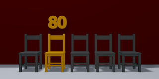 Number eighty and row of chairs Stock Photo