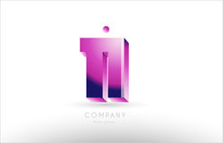 Number 11 eleven black white pink logo icon design. Number 11 eleven black white pink bold logo vector creative company icon design template 3d background Royalty Free Stock Photos