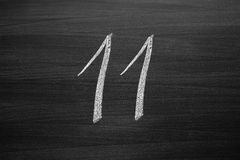 Number eleven enumeration written with a chalk Royalty Free Stock Images