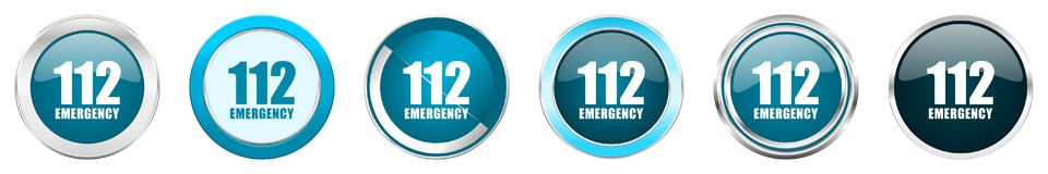 Number emergency 112 silver metallic chrome border icons in 6 options, set of web blue round buttons isolated on white background royalty free stock images
