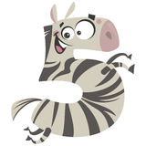 Number 5 excited cartoon zebra gallop Stock Image
