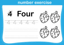 Number exercise with cartoon coloring book illustration. Vector Royalty Free Stock Photo