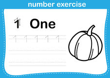 Number exercise with cartoon coloring book illustration Stock Images