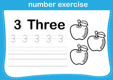 Number exercise with cartoon coloring book illustration Stock Photos