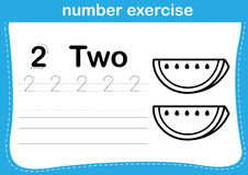 Number exercise with cartoon coloring book illustration Royalty Free Stock Photo