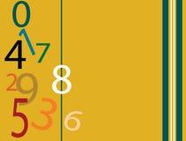 Number falling. Numbers scattered on presentation folder with stripes Stock Illustration