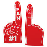 Number 1 fan foam hand. Foam hand, front and back, with number 1 fan text, white background Royalty Free Stock Image