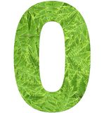 Number 0 with fern texture, isolated on white background, font Helvetica World, bold stock image