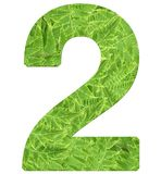 Number 2 with fern texture, isolated on white background, font Helvetica World, bold stock photos