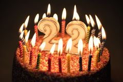 22 Number with festive candle for holiday cake. twenty two birth stock images