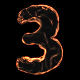 Number 3 fiery border. On a black background Royalty Free Stock Photo