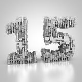 Number fifteen made out of technical texture. 3D rendering: number fifteen made out of technical texture Royalty Free Stock Images