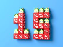Number Fifteen With Miniature Houses And Red Percentage Blocks. 3d Illustration royalty free illustration