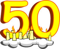 Number fifty with candles Royalty Free Stock Photos