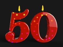 Number Fifty Candles Mean Red Wax Or Bright Royalty Free Stock Image