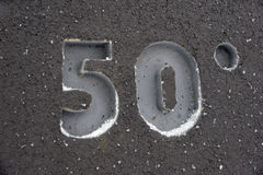 Number fifty. 3d number fifty on a grey background Stock Photography