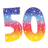 Number fifty. Decorative retro design Stock Image