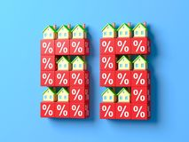 Number Fifty Five With Miniature Houses And Red Percentage Blocks. 3d Illustration stock illustration