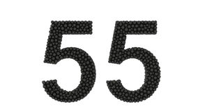 Number fifty five over white. Black balls of various diameters forming the number fifty five over white background stock illustration