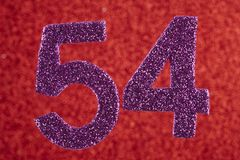 Number fifty-four purple over a red background. Anniversary. Hor. Izontal Stock Image