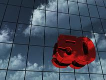 Number fifty. On glass building - 3d rendering Royalty Free Stock Image