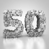Number fifty made out of technical texture. 3D rendering: number fifty made out of technical texture Royalty Free Stock Photo