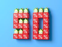 Number Fifty With Miniature Houses And Red Percentage Blocks. 3d Illustration stock illustration
